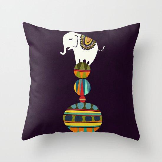 Elephant Circus Throw Pillow