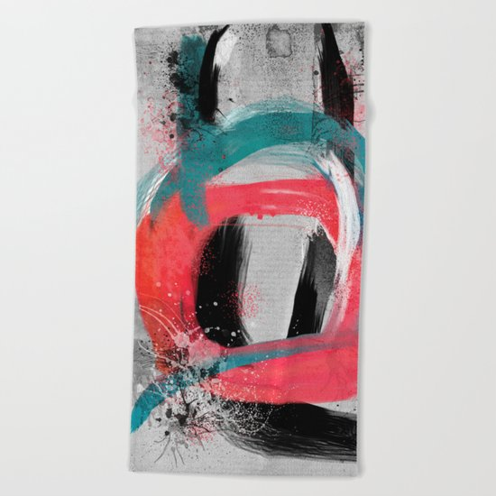 blue meets pink on a cloudy day Beach Towel