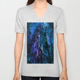 Black Trees Teal Purple Space Unisex V-Neck