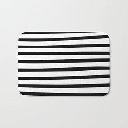 Black and White Hand Drawn Stripes Bath Mat