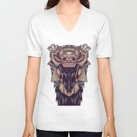 indonesia V-neck T-shirts featuring Barong Indonesia by Ahmad Mujib