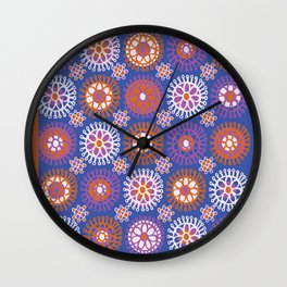 Flower Doodles Cobalt Blue, circles and flowers design Wall Clock