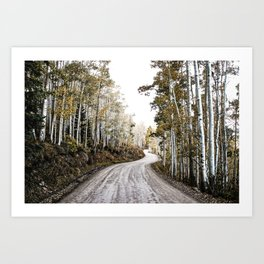 A Winding Autumn Road Art Print