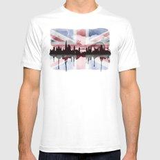 Great British Flag London Skyline 2 White Mens Fitted Tee MEDIUM