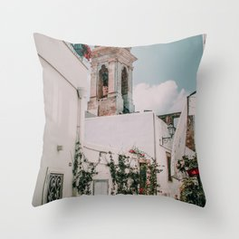 Southern Italy Flowers Town Travel Throw Pillow