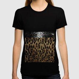 ANIMAL PRINT CHEETAH LEOPARD BLACK AND GOLDEN BROWN T-shirt
