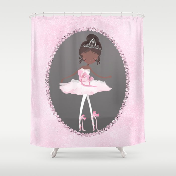 Shower Curtains Pink And Brown.Pink Grey Brown Ballerina Dancer Shower Curtain By Christyne