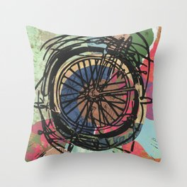 Where To Next? No. 5 Abstract Bike Wheel Linocut Block on Collage Travel Art Throw Pillow