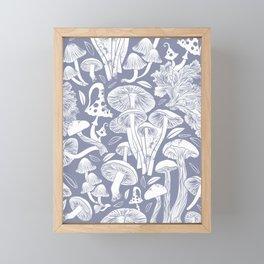 Delicious Autumn botanical poison IV // blue grey background Framed Mini Art Print