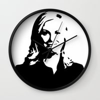 leslie knope Wall Clocks featuring Leslie Knope by Bjarni Bragason