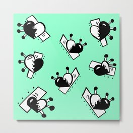 Hearts with Stitches - Black with Seafoam Green Metal Print