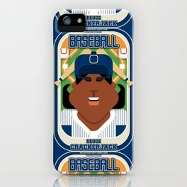 Baseball Blue Pinstripes - Deuce Crackerjack - Aretha version iPhone Case