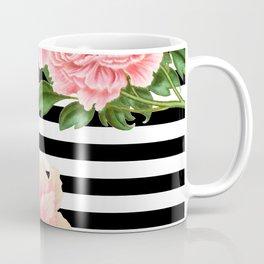 Pink Peonies Black Stripes Coffee Mug