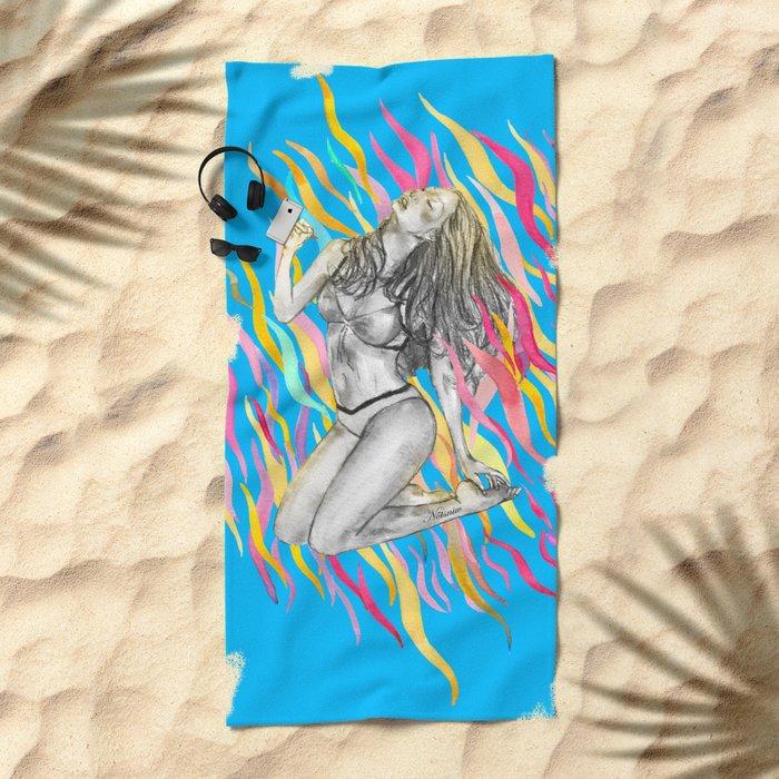 Ibiza Summer Flame Beach Towel