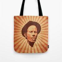 tom waits Tote Bags featuring Waits by Durro