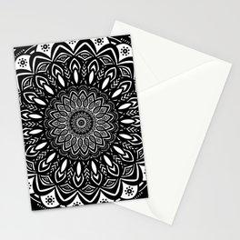 Bold Mandala Black and White Simple Minimal Minimalistic Stationery Cards
