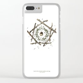 nature mandala... beech sticks, hemlock needles, quail egg Clear iPhone Case