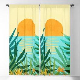 Tropical Ocean View / Landscape Illustration Blackout Curtain