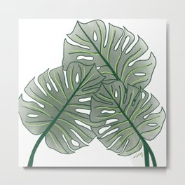 Large Monstera Leaf in Moss Green Metal Print