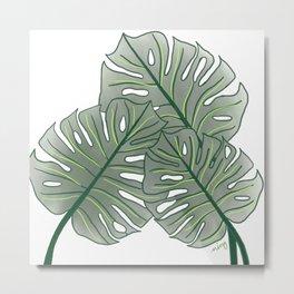 Large Monstera Leaf in Moss Green Metal Print