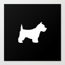 West Highland Terrier dog breed minimal dog lover gifts black and white Canvas Print
