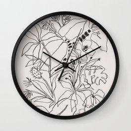 Charcoal Tropics Wall Clock