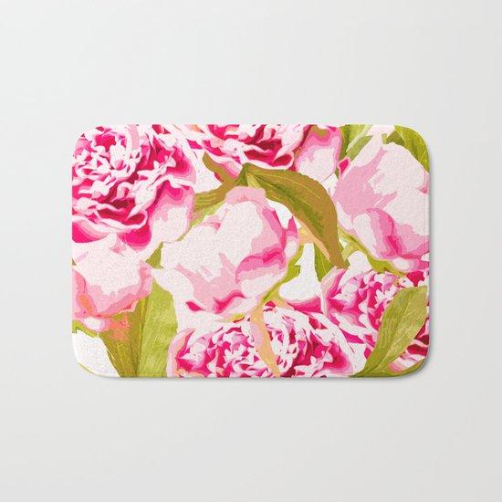 Lovely Peony Flowers Blossom - Summer Garden Bath Mat