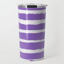 Irregular Hand Painted Stripes Purple Travel Mug