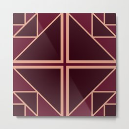 Art Deco Pattern Gold Burgundy Metal Print