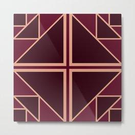 Art Deco Pattern Gold Burgundy Metal Print