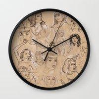 burlesque Wall Clocks featuring Burlesque Sketchbook by Becky Ryan