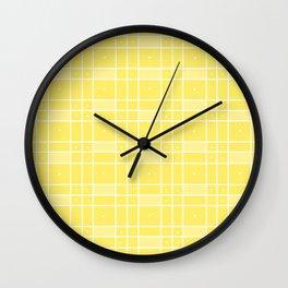 Yellow Squares and Dots Wall Clock