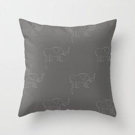 Line Elephant March (Grey) Throw Pillow