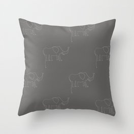 Line Elephant March (Grey) Throw Pillow