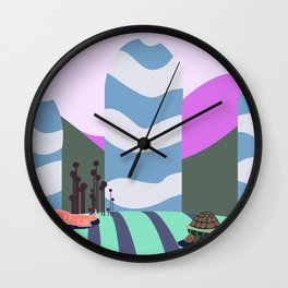hare and tortoise fable Wall Clock