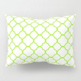 Green, Lime: Quatrefoil Clover Pattern Pillow Sham