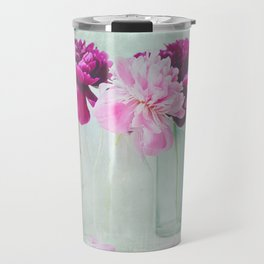 Bottles of Peonies All in a Row Travel Mug