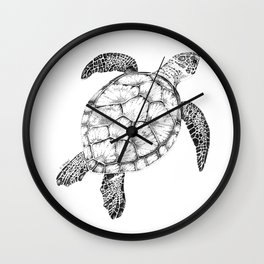 Sea Turtle - Pen and Ink Illustration Wall Clock