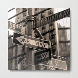 Street sign in New York City, sepia Metal Print