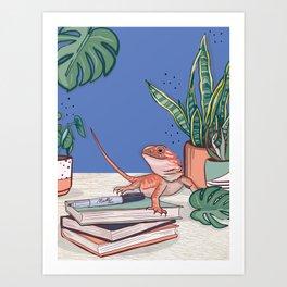 Bearded Dragon & Houseplants Art Print