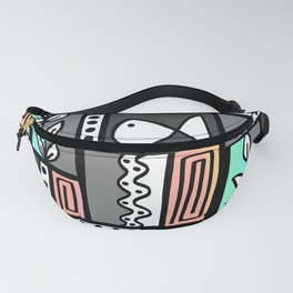 Fishes Seaweeds and Shells - Gray and Aqua Fanny Pack