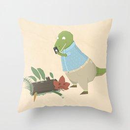 Hipster Dinosaur Instagrams his Vegan Lunch Throw Pillow