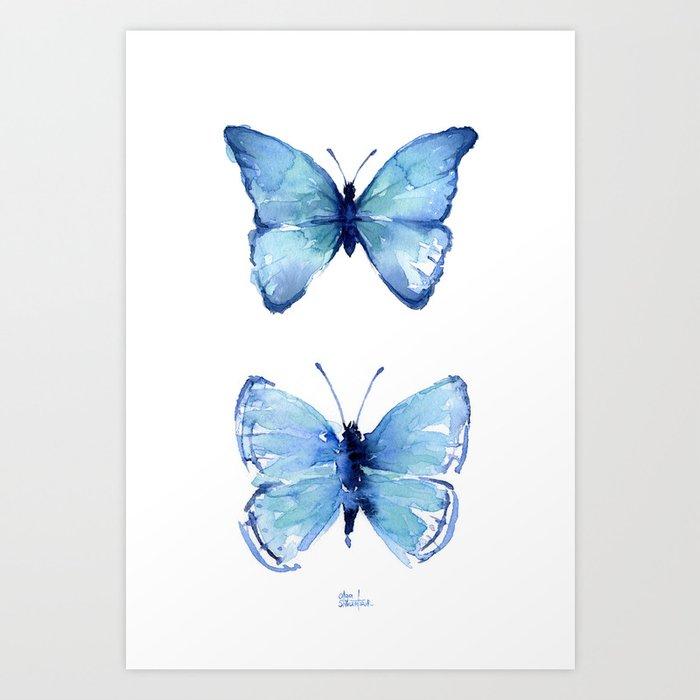 Two Blue Butterflies Watercolor Kunstdrucke
