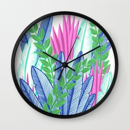 Modern Tropical Plants - Cool tones Wall Clock