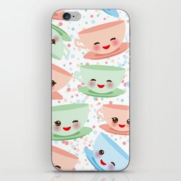 Cute blue pink green Kawai cup, coffee tea with pink cheeks and winking eyes, polka dot background iPhone Skin