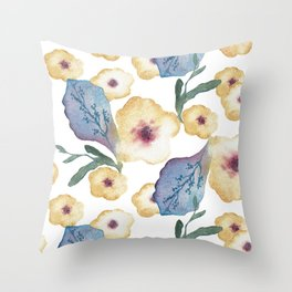 Golden and Blue Floral Pattern Throw Pillow