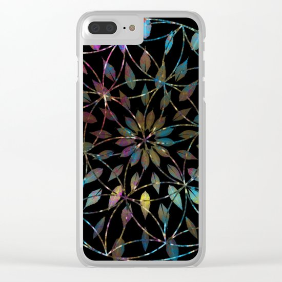 Boho Mandala Flower Splatter Clear iPhone Case