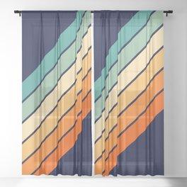 Farida - 70s Vintage Style Retro Stripes Sheer Curtain