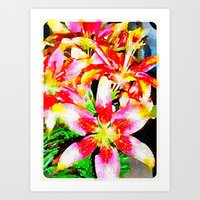 Pink & Yellow Lilies Art Print