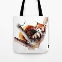 red panda Tote Bags featuring Red Panda by Anna Shell